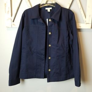 L Appleseeds navy blue button down jacket